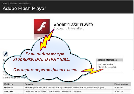 Страница теста Adobe Flash Player